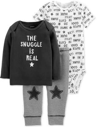 Carter's Baby Boys 3-Pc. Cotton Snuggle T-Shirt, Bodysuit & Pants Set