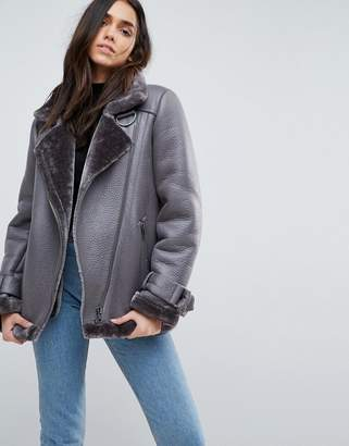 Asos Aviator In Faux Leather