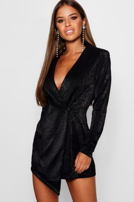 boohoo Petite Metallic Blazer Dress