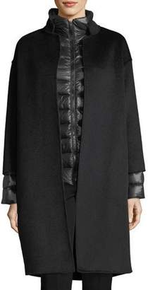 Fleurette Cashmere Nehru-Collar Wool Coat w/ Detachable Lightweight Puffer Jacket