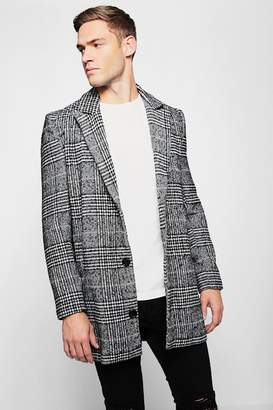boohoo Check Wool Single Breasted Overcoat