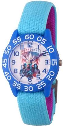 Marvel Guardians of the Galaxy Vol 2 Star-Lord, Drax, Groot and Gamora Boys' Blue Plastic Time Teacher Watch, Reversible Blue and Black Elastic Nylon Strap