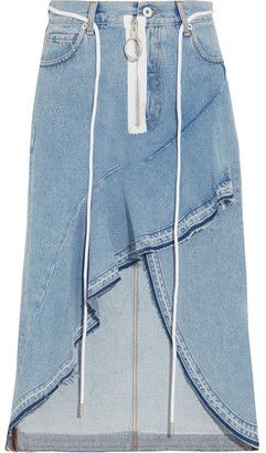 Off-White Asymmetric Wrap-effect Ruffled Denim Skirt - Light denim