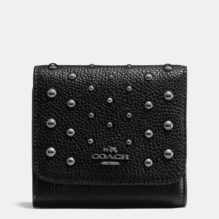 Coach   COACH Coach Small Wallet In Polished Pebble Leather With Ombre Rivets