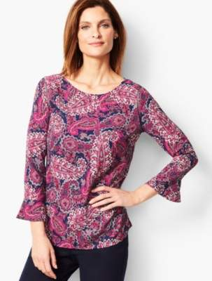 Talbots Traditional Paisley Three-Quarter Peplum Sleeve Classic Crepe Popover