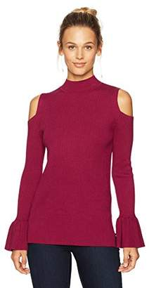 Ella Moon Women's Marcia Flounce Sleeve Cold Shoulder Ribbed Sweater