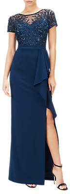 Adrianna Papell Petite Beaded Gown, Deep Blue