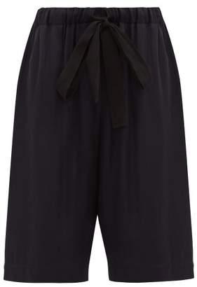 Raey Elasticated Drawstring Waist Satin Wide Leg Shorts - Womens - Navy