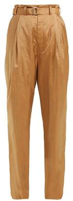 Lemaire Wide Leg Belted Trousers - Womens - Light Brown