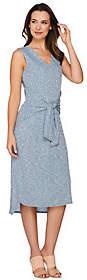 Halston H by Tie Front Rib Knit Midi Dress