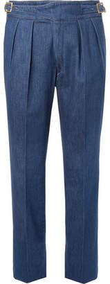 Rubinacci Manny Tapered Pleated Stretch-Denim Trousers