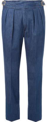 Rubinacci Manny Tapered Pleated Stretch-Denim Trousers