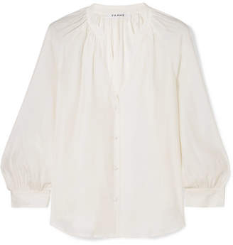 Frame Gathered Silk Blouse - Off-white