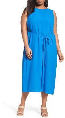 Eileen Fisher Silk Georgette Crepe Midi Dress (Plus Size) $398 thestylecure.com