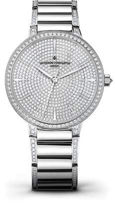 Vacheron Constantin Patrimony 86615/CA2G-9838 18K White Gold with Diamond Pave Dial 36.50mm Womens Watch