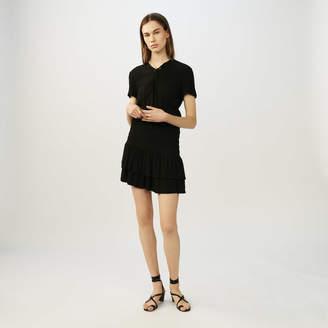 Maje Smocked flounce dress