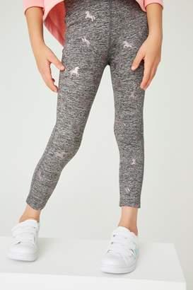 Next Girls Grey Glitter Unicorn Sports Leggings (3-16yrs) - Grey