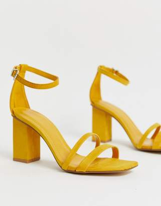 Bershka two part kitten heel sandals in mustard
