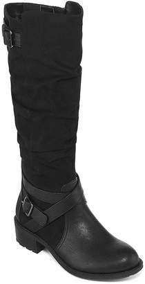 ST. JOHN'S BAY Womens Debra Riding Block Heel Zip Boots
