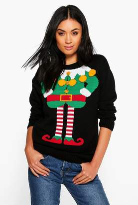 boohoo Caitlin Pom Pom Elf Body Christmas Jumper