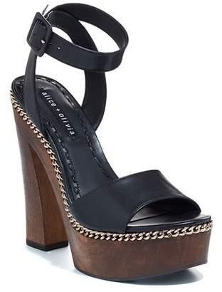Alice + Olivia Faira Wood Platform Sandals