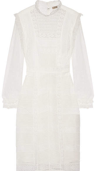Burberry - Tulle And Cotton-blend Lace Dress - White