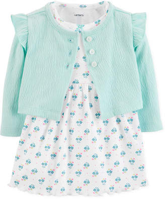 9084e056909 Carter s Carter Baby Girls Printed Dress   Cardigan Sweater Set