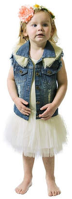 sassy Bling Ruffle Denim Vest