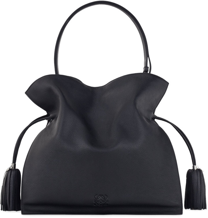 Loewe Flamenco 30 Drawstring Leather Bag, Black