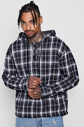 boohoo Grey Brushed Check Hooded Shirt