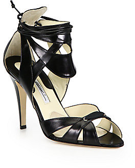 Brian Atwood Uma Leather Ankle Cuff Platform Sandals