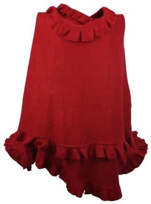 Nice & Great Luxury Women Ruffle Edge Poncho Knitted Shawl Premium Lady Soft Knit Cape Jacket Fashion Scarf Stretchy Wrap Over Solid Color Girl Large Shawl Elegant Cloak Warmer, Crimson
