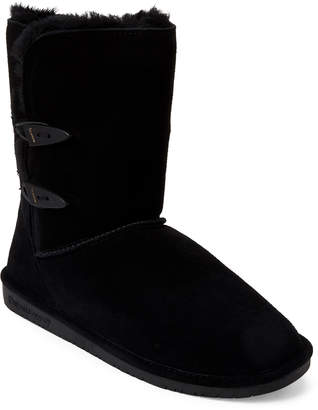 BearPaw Black Abigail Real Fur Toggle Boots