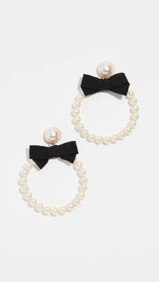For Love & Lemons Bowtie Imitation Pearl Hoop Earrings