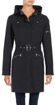 Vince Camuto Zip Up Hooded Trench Coat