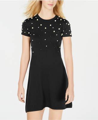 Planet Gold Juniors' Embellished Sweater Dress