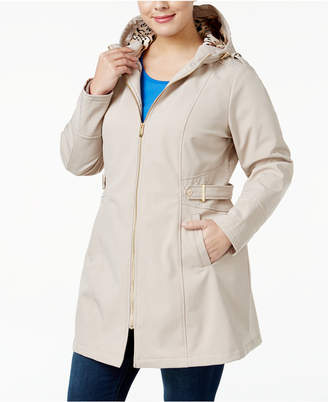 Via Spiga Plus Size Hooded Softshell Raincoat