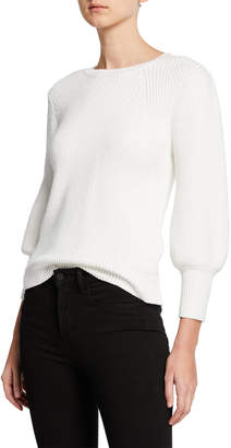 Jason Wu Crewneck 3/4 Blouson-Sleeve Chunky Rib-Knit Sweater