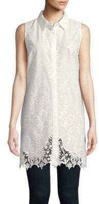 T Tahari Sabina Sleeveless Embroidered Shirt