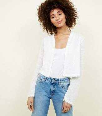 New Look Off White Fluffy Cropped Cardigan