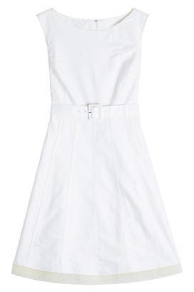 Marc Jacobs A-Line Cotton Dress with Pleated Chiffon Trim