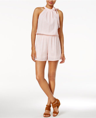 Maison Jules Gingham Tie-Neck Romper, Only at Macy's $69.50 thestylecure.com