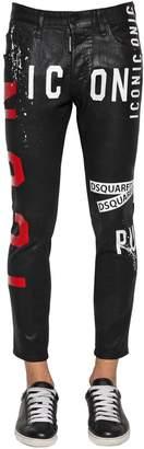 DSQUARED2 16cm Skater Waxed Denim Jeans