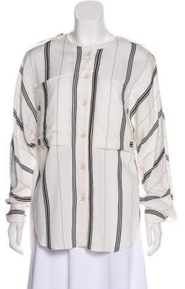 Tibi Striped Button-Up Top