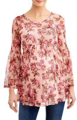 Planet Motherhood Maternity Floral Bell Sleeve Knit Top with Empire Waist