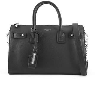 Saint Laurent Baby Sac De Jour Souple Duffle Bag In Black Grained Leather