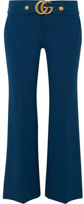Gucci Cropped Embellished Crepe Flared Pants - Midnight blue