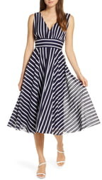 Eliza J Stripe Sleeveless Fit & Flare Dress