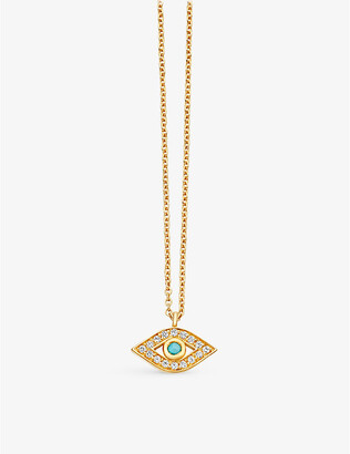 Astley Clarke Mini evil eye 18ct yellow-gold plated pavé turquoise necklace