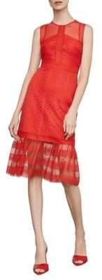 BCBGMAXAZRIA Sleeveless Lace Inset Sheath Dress